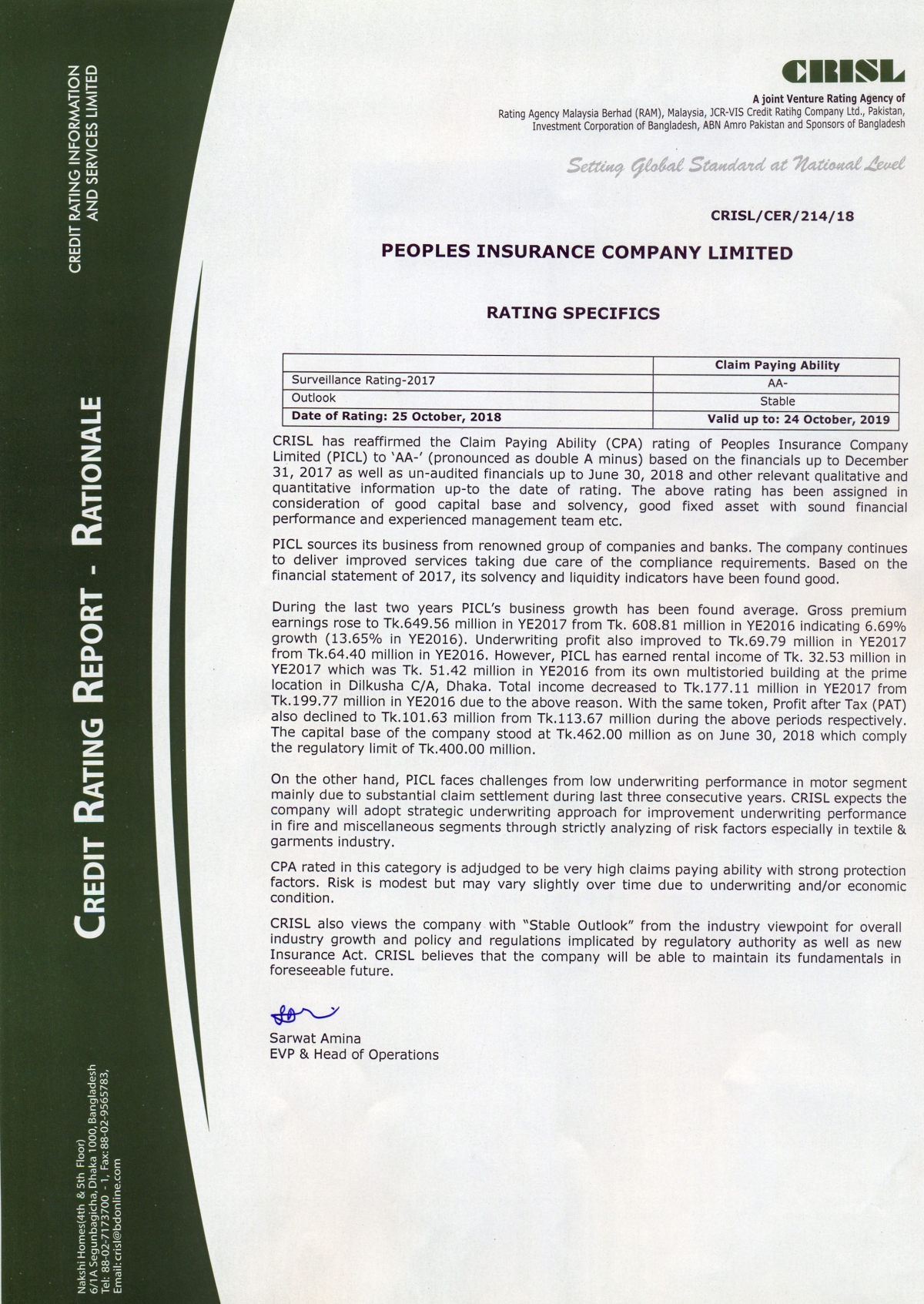 Credit Rating Certificate 2019 of Peoples Insurance Company Limited